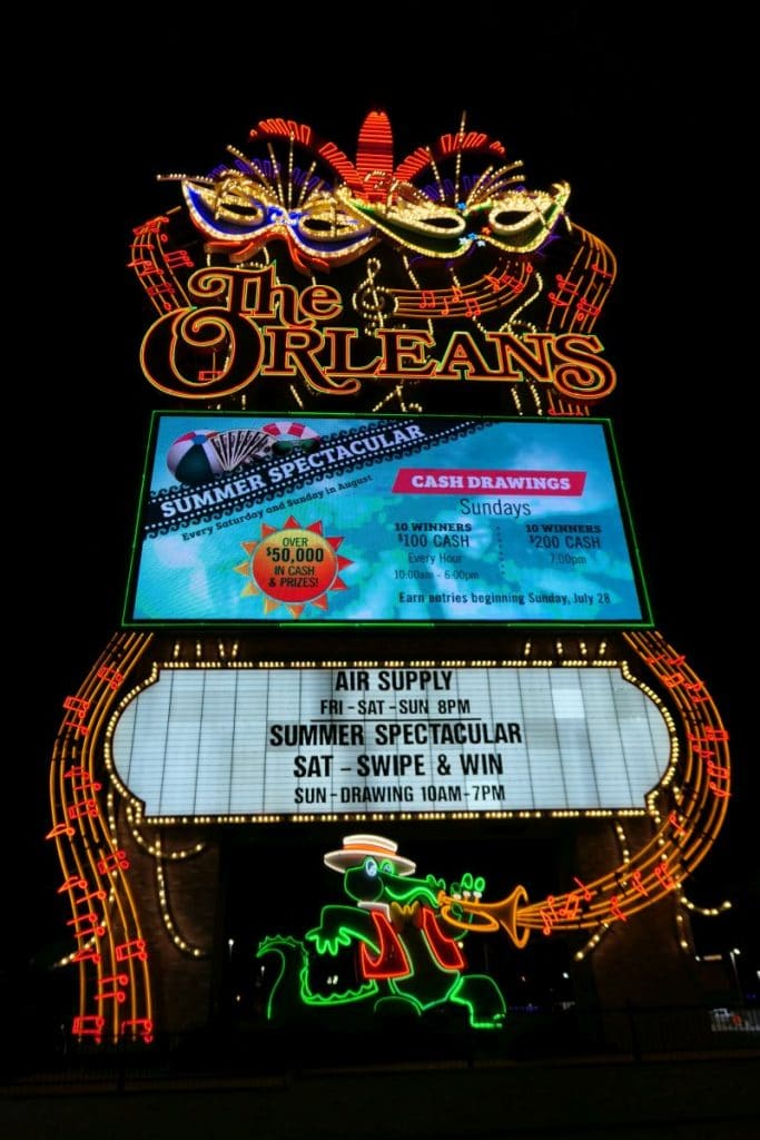 Sign The Orleans Hotel and Casino in Las Vegas. Great neon sign, very beautiful