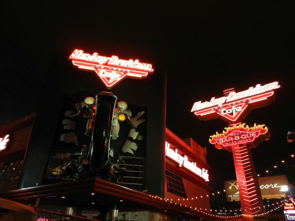 Neon signs Harley Davidson Café in Las Vegas, gone
